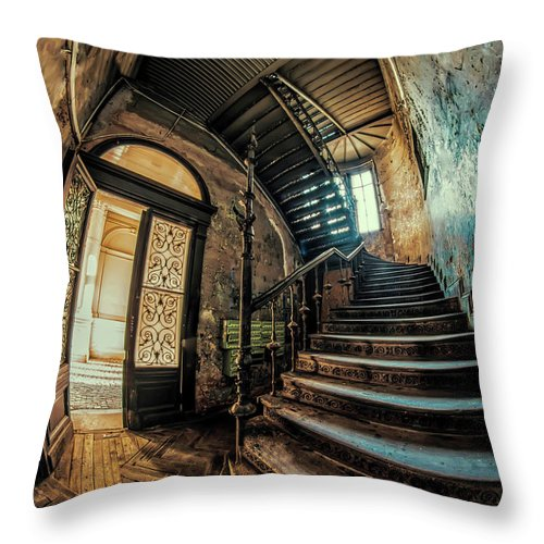 Staircase Throw Pillow featuring the photograph Beautiful Forgotten Staircase by Jaroslaw Blaminsky