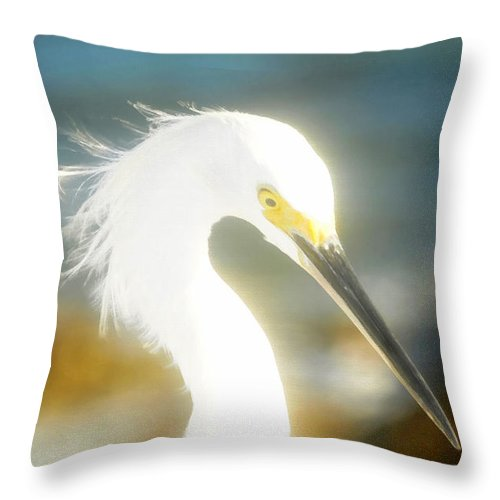 Snowy Egret Throw Pillow featuring the painting Beautiful In White by David Lee Thompson