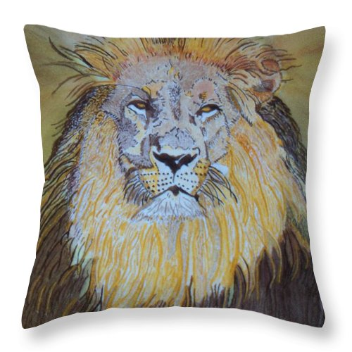Lion Throw Pillow featuring the painting Beautiful Pose Of The King by Connie Valasco