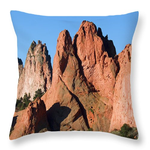 Garden Of The Gods Throw Pillow featuring the photograph Beautiful Sandstone Spires In Garden Of The Gods Park by Steve Krull