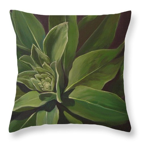 Closeup Of Mullein Plant Throw Pillow featuring the painting Beautiful Stranger by Hunter Jay
