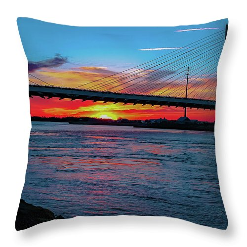 Sunsets Throw Pillow featuring the photograph Beautiful Sunset Under The Bridge by Amy Bishop