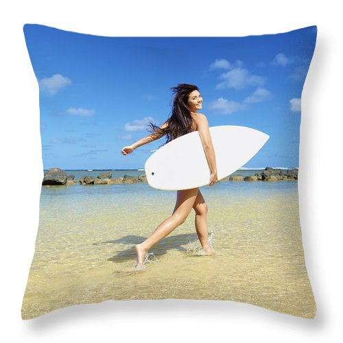 Activity Throw Pillow featuring the photograph Beautiful Surfer Girl by Kicka Witte
