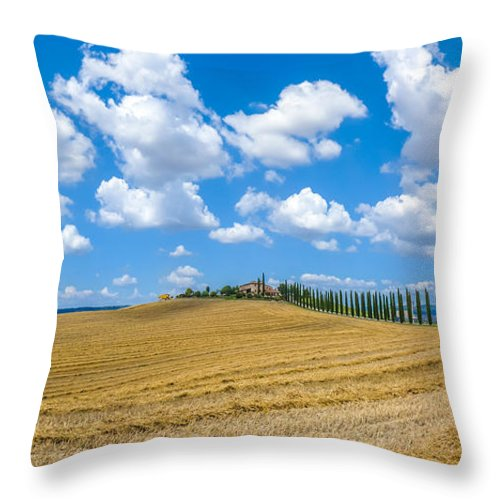 Agriculture Throw Pillow featuring the photograph Beautiful Tuscany Landscape With Traditional Farm House And Dram by JR Photography
