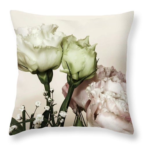 Beautiful White Roses Bouquet Throw Pillow For Sale By Emma Grimberg