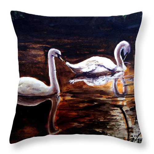 Swans Throw Pillow featuring the painting Beautiful White Swans by Patricia L Davidson