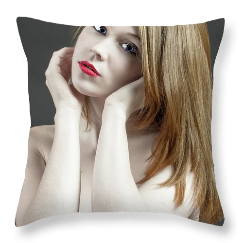 Age Throw Pillow featuring the photograph Beautiful White Woman On Red Chair by William Freebilly photography