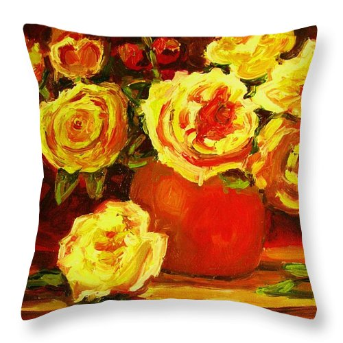 Roses Throw Pillow featuring the painting Beautiful Yellow Roses by Carole Spandau