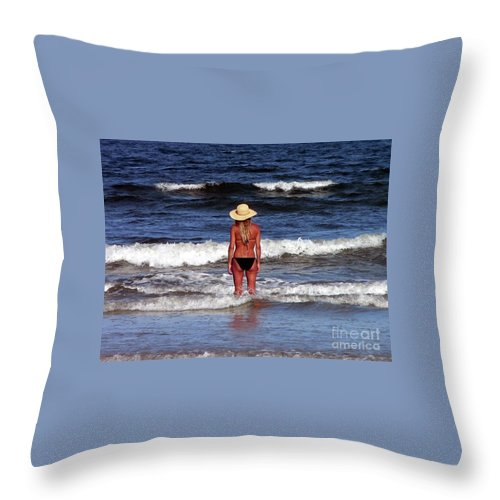 Blonde Throw Pillow featuring the photograph Beauty And The Beach by Al Powell Photography USA