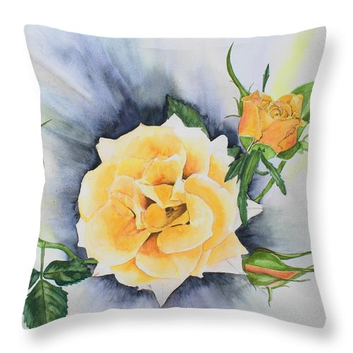 Roses Throw Pillow featuring the painting Beauty And The Weed by Frank Hamilton