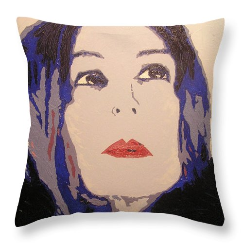 Portrait Throw Pillow featuring the painting Beauty Beyond the Blue by Ricklene Wren