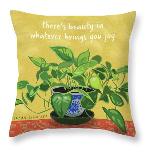 Philodendron Throw Pillow featuring the digital art Beauty In Joy by Susan Spangler