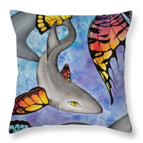 Surreal Throw Pillow featuring the painting Beauty In The Beasts by Lucy Arnold