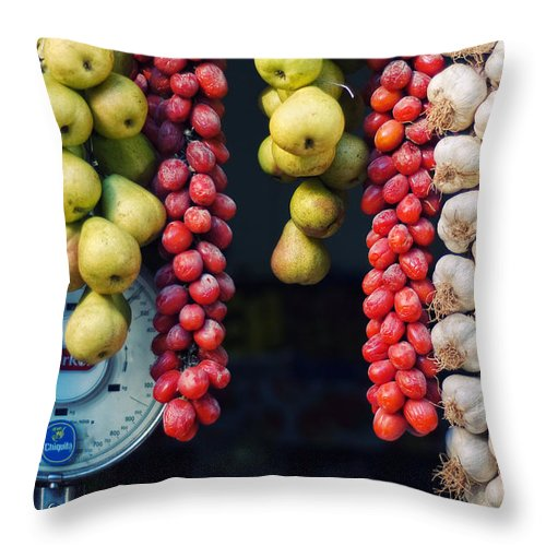 Still Life Throw Pillow featuring the photograph Beauty In Tomatoes Garlic And Pears by Silvia Ganora