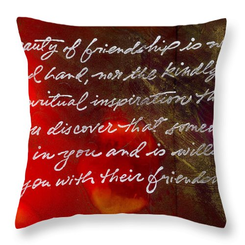 Gretting Cards Throw Pillow featuring the painting Beauty of Friendship by Angela L Walker