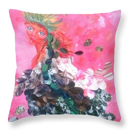 Woman Throw Pillow featuring the mixed media Beauty by Sandra Belz