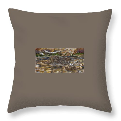Animal Throw Pillow featuring the painting Beaver Family Animal Vignette by Dawn Senior-Trask