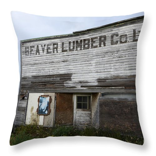 Beaver Throw Pillow featuring the photograph Beaver Lumber Company Ltd Robsart by Bob Christopher