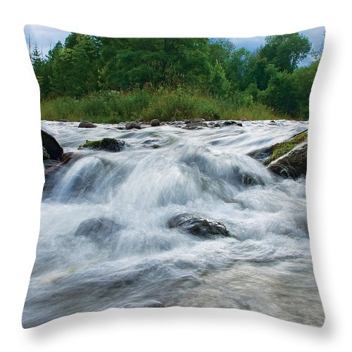 Beaver River Throw Pillow featuring the photograph Beaver River Rapids by Steve Somerville