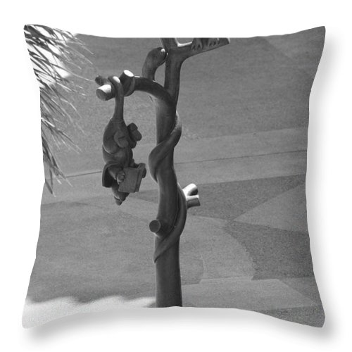 Black And White Throw Pillow featuring the photograph Beavers Bats And Squirrels by Rob Hans