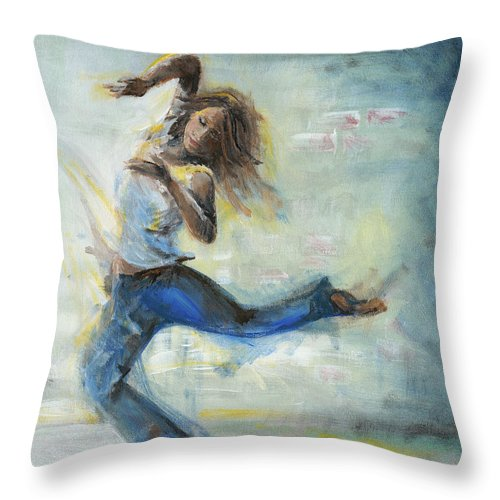 Dancing Girl Throw Pillow featuring the painting Because She Can by Judith Whittaker