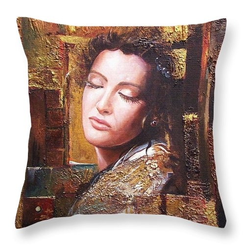 Female Portrait Throw Pillow featuring the painting Because You Are Beautiful by Sinisa Saratlic