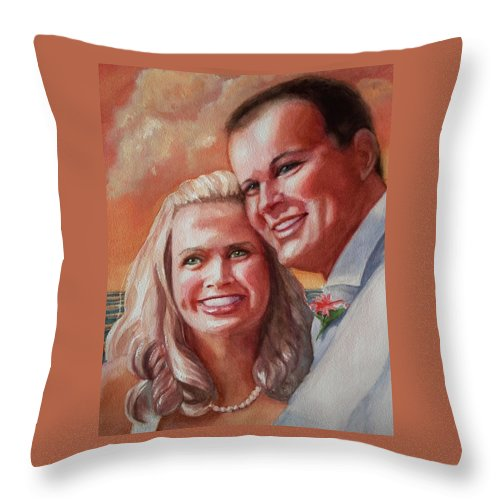 Couple Throw Pillow featuring the painting Becky And Chris by Marilyn Jacobson