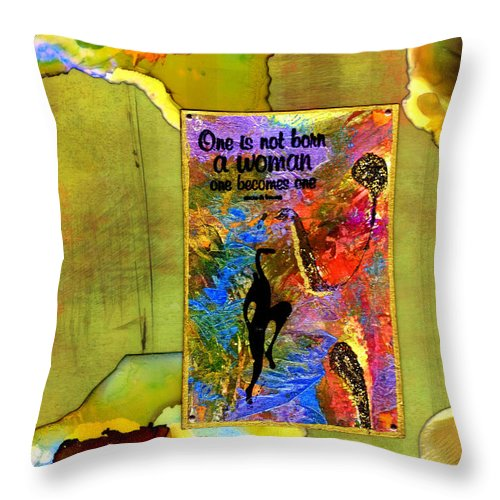 Wood Throw Pillow featuring the mixed media Becoming A Woman by Angela L Walker