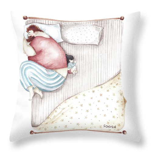 Illustration Throw Pillow featuring the painting Bed. King size. by Soosh