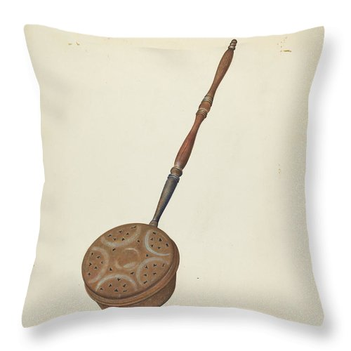 Throw Pillow featuring the drawing Bed Warmer by Ray Price