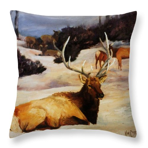 Bull Throw Pillow featuring the painting Bedded Down  Bull Elk In Snow by Kim Corpany