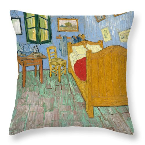Bedroom At Arles Throw Pillow featuring the painting Bedroom At Arles by Van Gogh