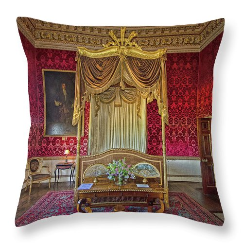 Holkham Hall Throw Pillow featuring the photograph Bedroom At Holkham Hall by Chris Thaxter