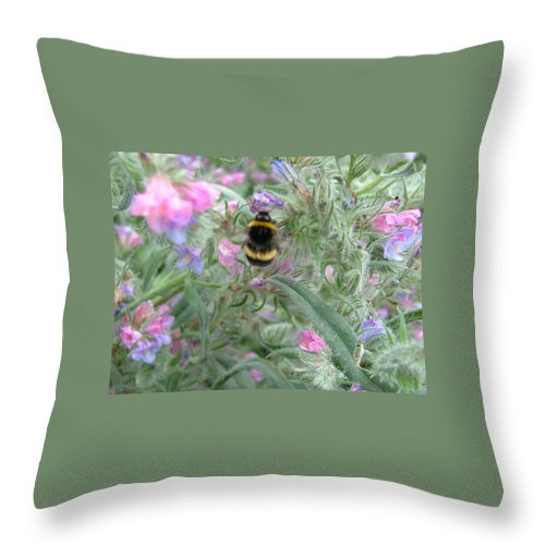 Bee And Flower Throw Pillow featuring the photograph Bee And Flower by Heather Lennox