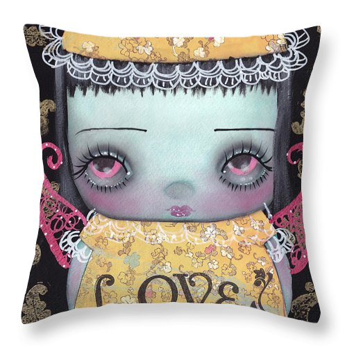 Abril Andrade Griffith Throw Pillow featuring the painting Bee Girl by Abril Andrade Griffith