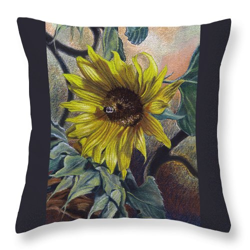 Floral Throw Pillow featuring the painting Bee In A Bonnet by Peter Muzyka