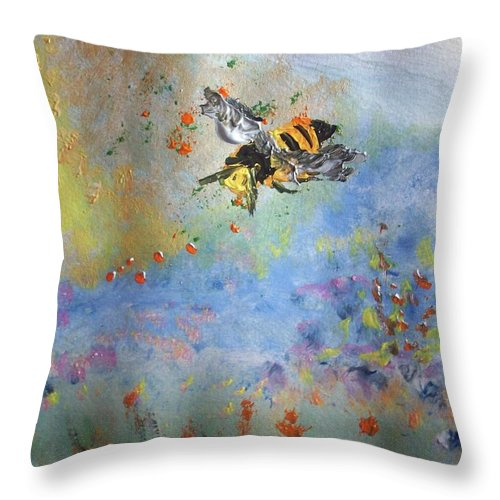 Bee Throw Pillow featuring the painting Bee My Honey by Judith Desrosiers