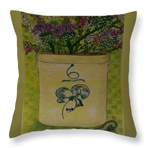 Bee Sting Crock Throw Pillow featuring the painting Bee Sting Crock With Good Luck Bow Heather And Thistles by Kathy Marrs Chandler