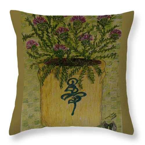 Vintage Throw Pillow featuring the painting Bee Sting Crock With Good Luck Horseshoe by Kathy Marrs Chandler