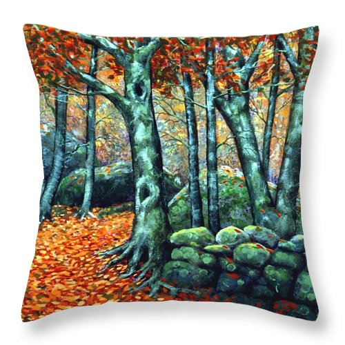 Landscape Throw Pillow featuring the painting Beech Woods by Frank Wilson