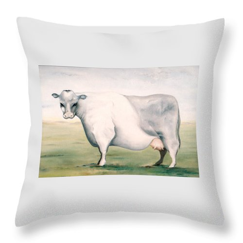 Beef Throw Pillow featuring the painting Beef Holocaust I by Mark Cawood