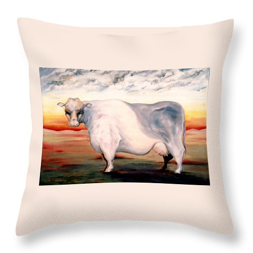 Cow Throw Pillow featuring the painting Beef Holocaust II by Mark Cawood