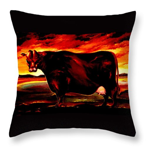 Farm Animal Throw Pillow featuring the painting Beef Holocaust IIi by Mark Cawood