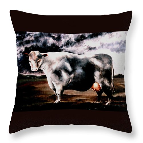 Cow Throw Pillow featuring the painting Beef Holocaust Iv by Mark Cawood