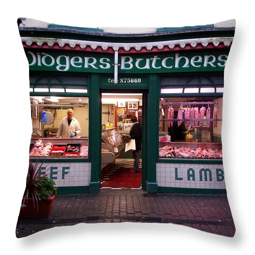 Butcher Throw Pillow featuring the photograph Beef Lamb by Tim Nyberg