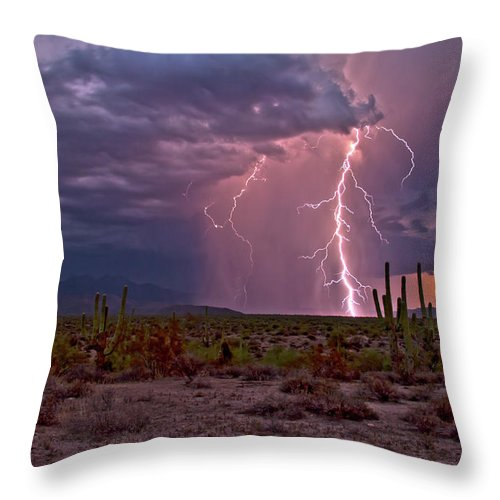Arizona Lightning Photography Throw Pillow featuring the photograph Beeline Highway Dancer by Cathy Franklin