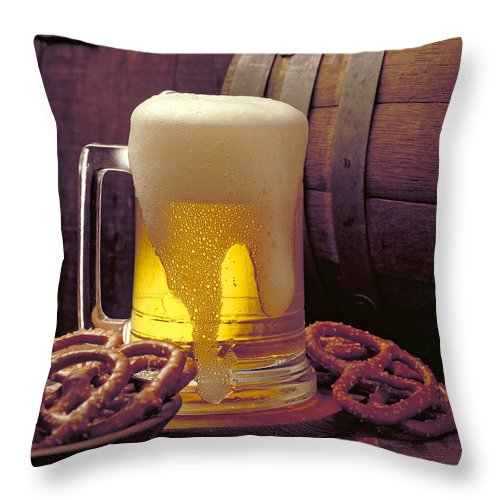 Beer Throw Pillow featuring the photograph Beer And Pretzels by Thomas Firak