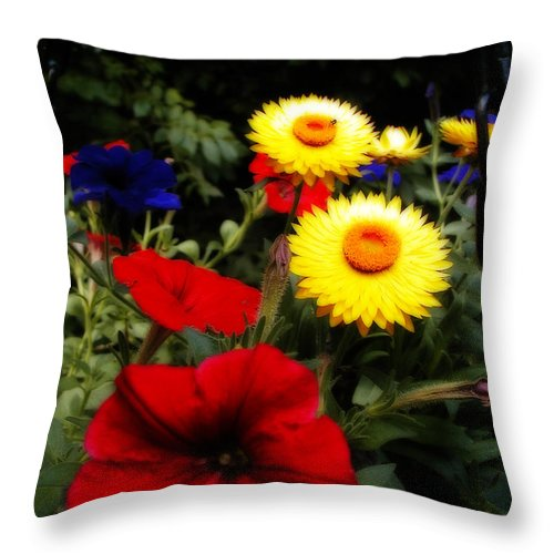 Pansy Throw Pillow featuring the photograph Bees Eye View by Laura Brightwood