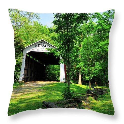 Bridge Throw Pillow featuring the photograph Beeson Covered Bridge by David Arment