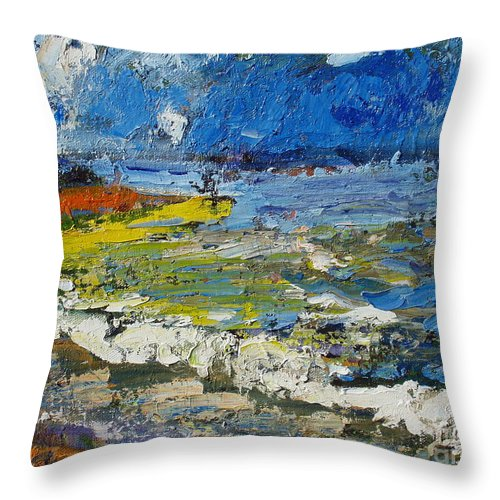 Beach Paintings Throw Pillow featuring the painting Before Storm by Seon-Jeong Kim